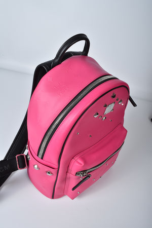 MCM Small Stark Odeon Backpack in Hot Pink E9343