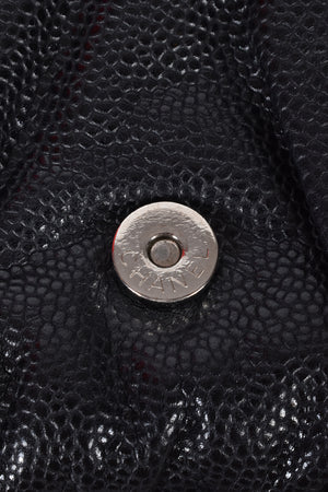 Chanel Black Quilted Caviar Leather Half Moon Wallet On Chain Bag