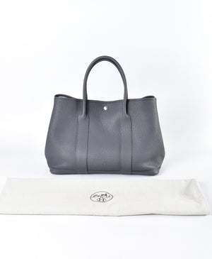Hermes Graphite Negonda Leather Garden Party 36 Tote Bag
