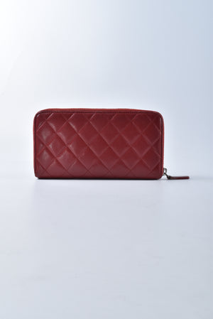 Chanel Zip Around Long Wallet Matelasse Lambskin Leather Red 17161062