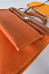 Hermes Herbag PM Bag in Brown/Orange Canvas - Stamp AR [R]