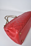 Chanel Red Quilted Lambskin Leather Large Just Mademoiselle Bowling Bag