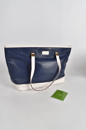 Kate Spade Oliver Street Taren Pebbled Leather Frence Navy Tote Bag