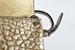 Burberry Langley Check-Embossed Leather Crossbody bag in Gold