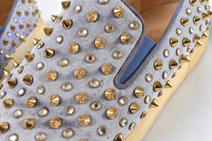 Christian Louboutin Roller 1C1S Woman Flat Veau Velours/GG Pervenche Gold Crystal