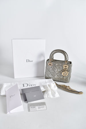 Christian Dior Mini Lady Dior Python Iron in Champagne GHW 02-MA-1107