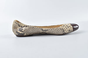 Alexandre Birman Ivory and Grey Python Cap Toe Flats