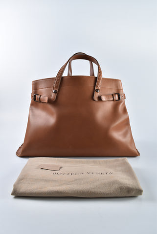 Bottega Veneta Smooth Calf Leather Tote Bag in Brown - Glampot