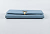 Yves Saint Laurent Retro Brass Y Buckle Light Blue Leather Long Purse