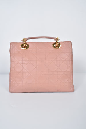 Christian Dior Pink Cannage Quilted Leather Medium Lady Dior Bag