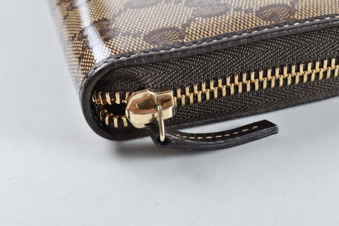 Gucci 363423 GG Crystal Round ZIP purse PVC coated canvas
