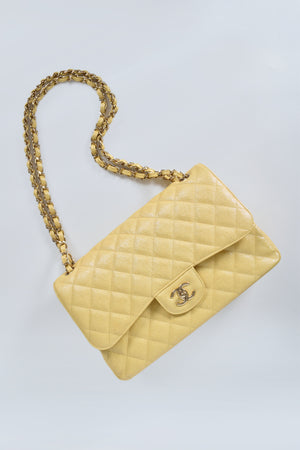 Chanel Iridescent Caviar Quilted Jumbo Double Flap Jaune Yellow GHW