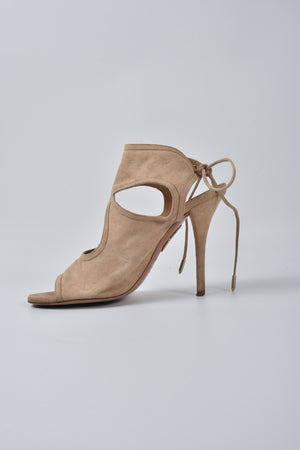 Aquazzura Sexy Thing Nude Tie Heel Sandals
