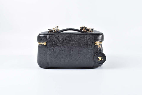 Chanel Vintage Black Short Caviar Vanity Case with Chain 3129925 (355)