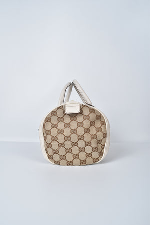 Gucci GG Canvas Trophy Handbag Brown Leather Shoulder Bag