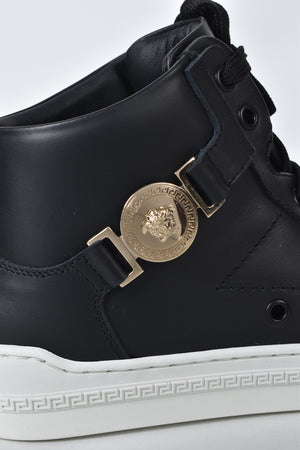 Versace Half Medusa High Top Sneakers in Black