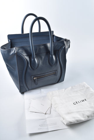 Céline Mini Luggage 07OR Blue Grained Calf Leather F-CU-0163 F-AT-0153 - Glampot