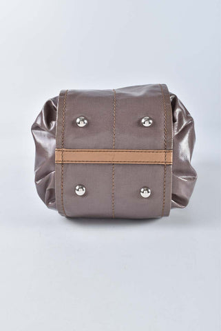 Tods G-Line Mini Coated Canvas Shopping Bag Dark Brown with Camel Trim