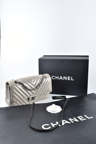 Chanel Iridescent Metallic Medium Chevron Flap RHW