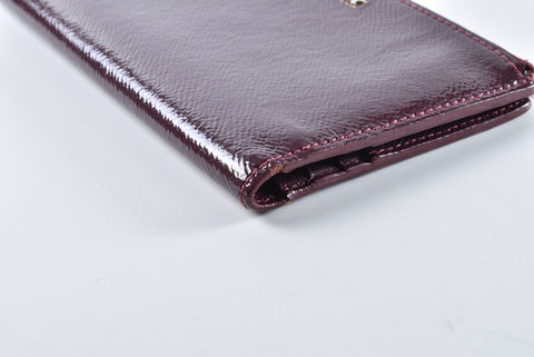 Burberry Burgundy Patent Leather 'Constantine' Folding Continental Wallet - Glampot