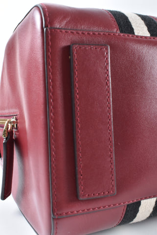 Bally Red Leather Boston Duffel Bag - Glampot
