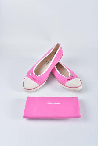 Longchamp Le Pliage Sneaker Flats in Hot Pink Size 40