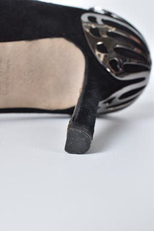 Sergio Rossi Black Suede Silver Butterfly Pump