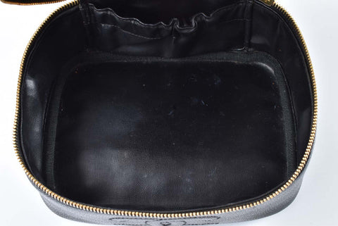Chanel Vintage Black Short Caviar Vanity Case with Chain 3322221 (341)
