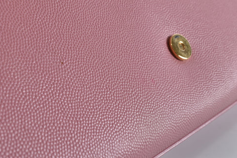 Saint Laurent Classic Monogram Clutch in Pink Grain De Poudre Textured Leather