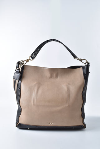 Anya Hindmarch Brown/Black Leather 2 Way Tote - Glampot