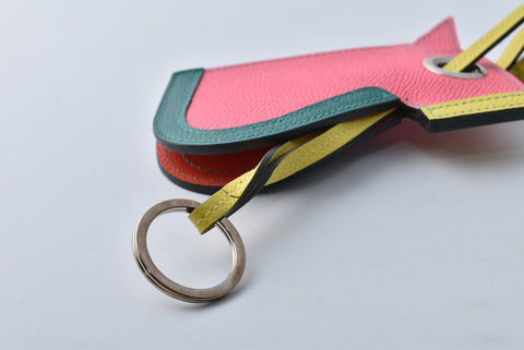 Hermès Camail Key Holder in Epsom Calfskin Rose Azalee / Malachite / Lime