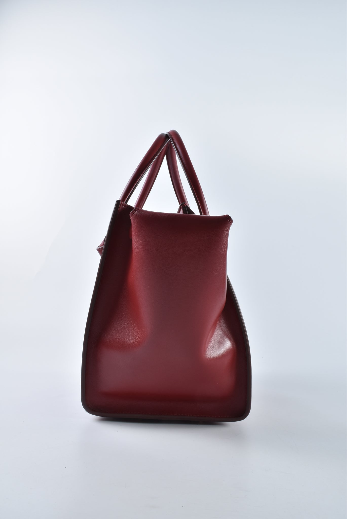 Celine Tie Knot Tote Palmelato Leather Burgundy Red Blue Suede W-GM-0174 - Glampot