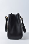 Gucci Black Leather Vintage Web Small Sylvie Top Handle Bag
