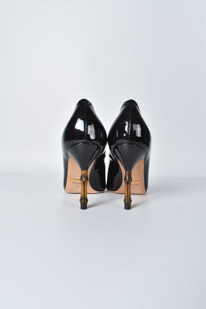 Gucci Black Patent Leather Bamboo Heel