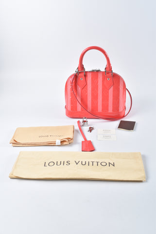 Louis Vuitton Vernis Rayures Alma BB in Poppy