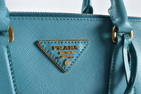 Prada BN2896 Saffiano Lux Leather Tote Turchese