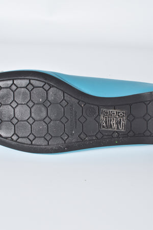 Balenciaga Teal Lambskin Leather Studded Ballet Flats