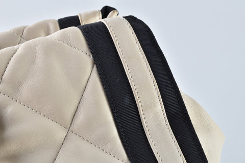 Chanel Large Logo White Lambskin Leather Tote Bag with Black Jersey Detailing 13199225 - Glampot