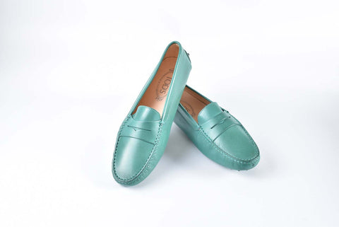 Tod's Gommini Green Leather Loafers