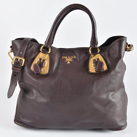 Prada BN1902 Nocciolo Soft Calfskin GHW Shopping Tote Bag with Pig Skin Lining