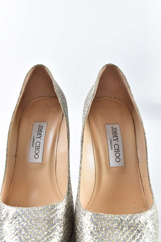 Jimmy Choo Abel 100mm Gold Glitter Fabric Pointy Toe Pumps