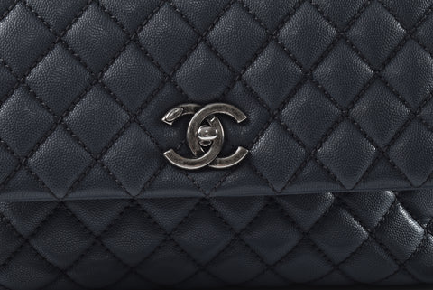 99845eb889e6 Chanel Coco Handle in Blue Caviar and Maroon Lizard Handle RHW - Glampot