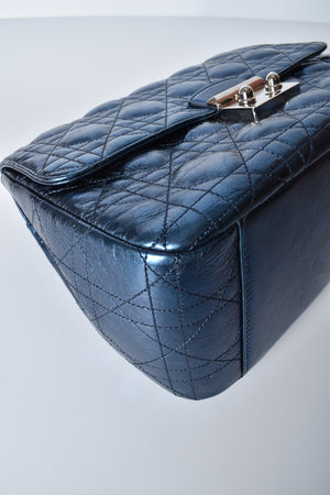 Christian Dior Metallic Blue Cannage Leather Miss Dior Medium Flap Bag SHW
