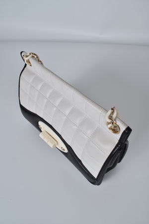 Chanel Vintage Classic Flap Two Tone Limited Edition Black & White Lambskin Leather Bag