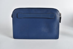 Prada VR0056 Saffiano BellBoy Travel Clutch in Blue