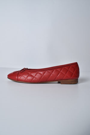 Chanel Lambskin Quilted Red Flats