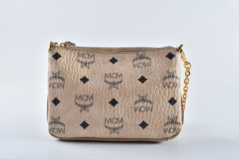 MCM Millie Visetos Small Top Zip Shoulder Bag in Beige 10071704