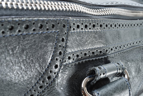 Balenciaga 204526 Anthracite Lambskin Leather Giant Brogues Covered Work Bag - Glampot