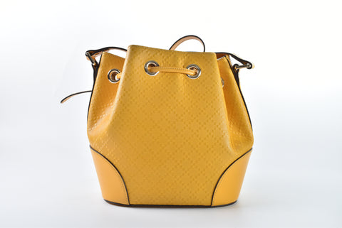 Gucci 354229 502752 Bright Diamante Leather Bucket Bag Handbag in Yellow