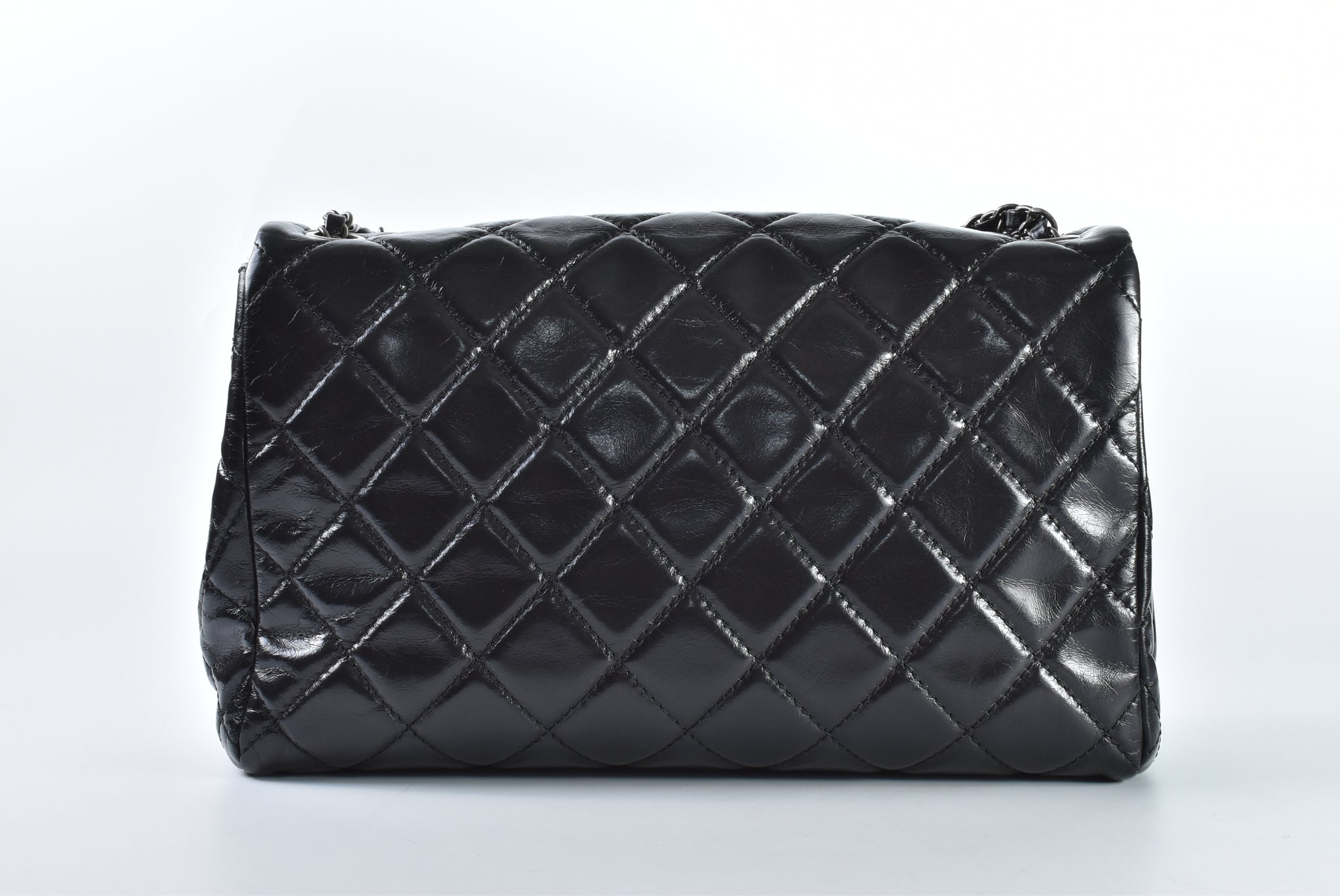 Chanel A90609 Black Aged Calf Flap RHW 20433335 - Glampot